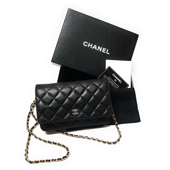 e22e9aa749a CHANEL Black Lambskin Leather Wallet On Chain Gold